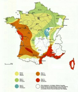Carte de France des climats; source : Atlas agroclimatique saisonnier de la France, 1980