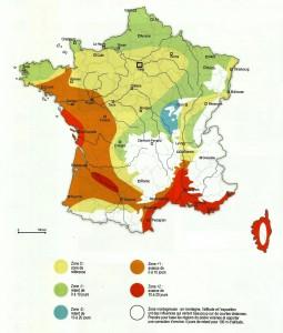 Carte de France des climats; source : Atlas agroclimatique saisonnier de la France, 1980